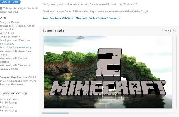 App Storeに『Minecraft』続編を名乗る偽アプリが出現・・・現在は削除済み