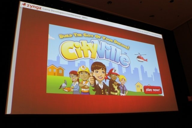 Game Developers Conference初日のSocial and Online Game Summitの一つとして13:45〜14:15で開催されたのが「Click Zen: Zynga's Evolution from FarmVille to CityVille」です。飛ぶ鳥を落とす勢いのジンガが最新の大ヒット作『CityVille』を語るということで広い会